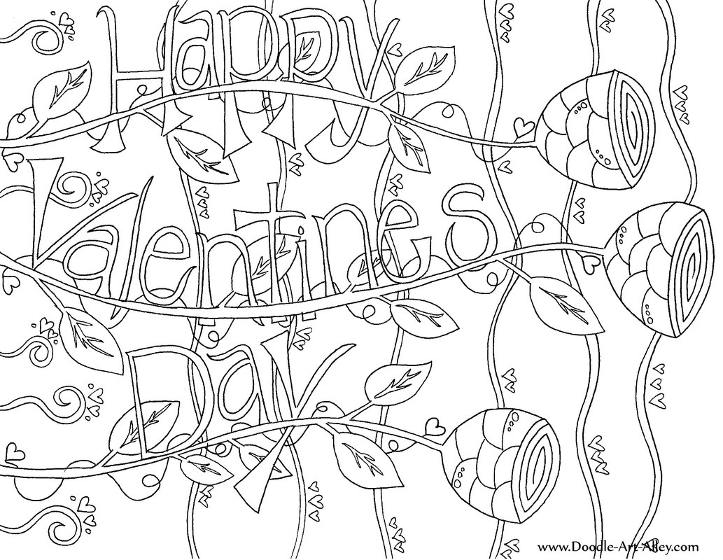 1033x800 Valentines Day Coloring Pages Doodle Art Alley Happy Valentines