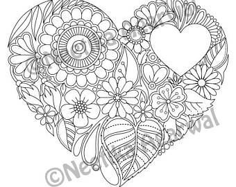 340x270 Floral Heart Valentine Adult Coloring Page Valentine Day