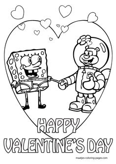 236x333 Spongebob Valentine Coloring Pages Valentine's Day Info