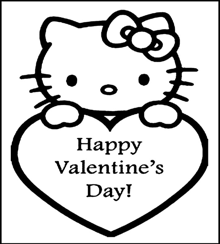 710x790 Kitty Coloring Picture Valentine Inside Hello Pages Decor