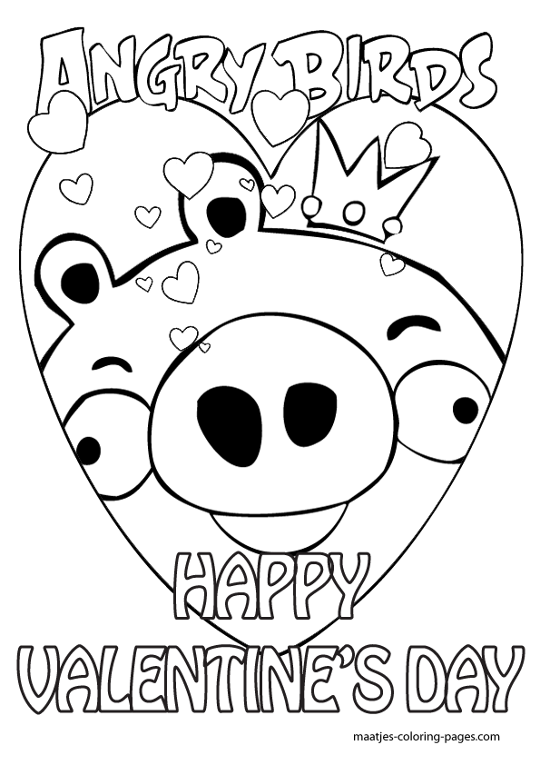 595x842 Angry Birds Valentine's Day Coloring Pages