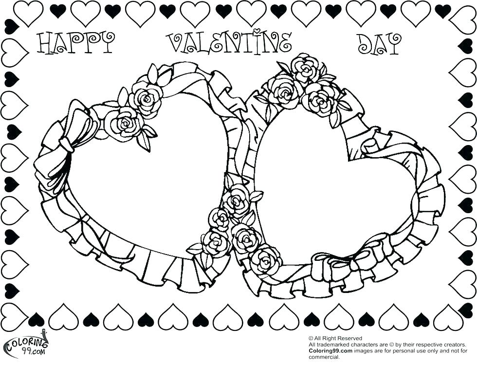 980x750 Happy Valentines Day Hearts Coloring Pages Roses And Hearts