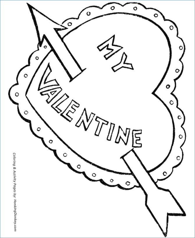 670x820 Valentine Heart With Arrow Coloring Pages
