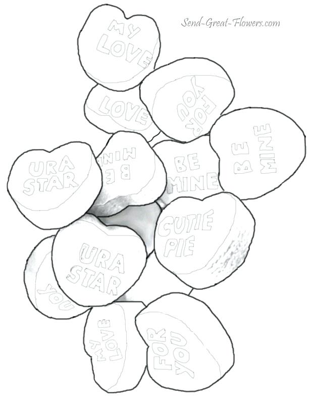 612x792 Valentine Hearts Coloring Pages Valentine Candy Hearts Coloring