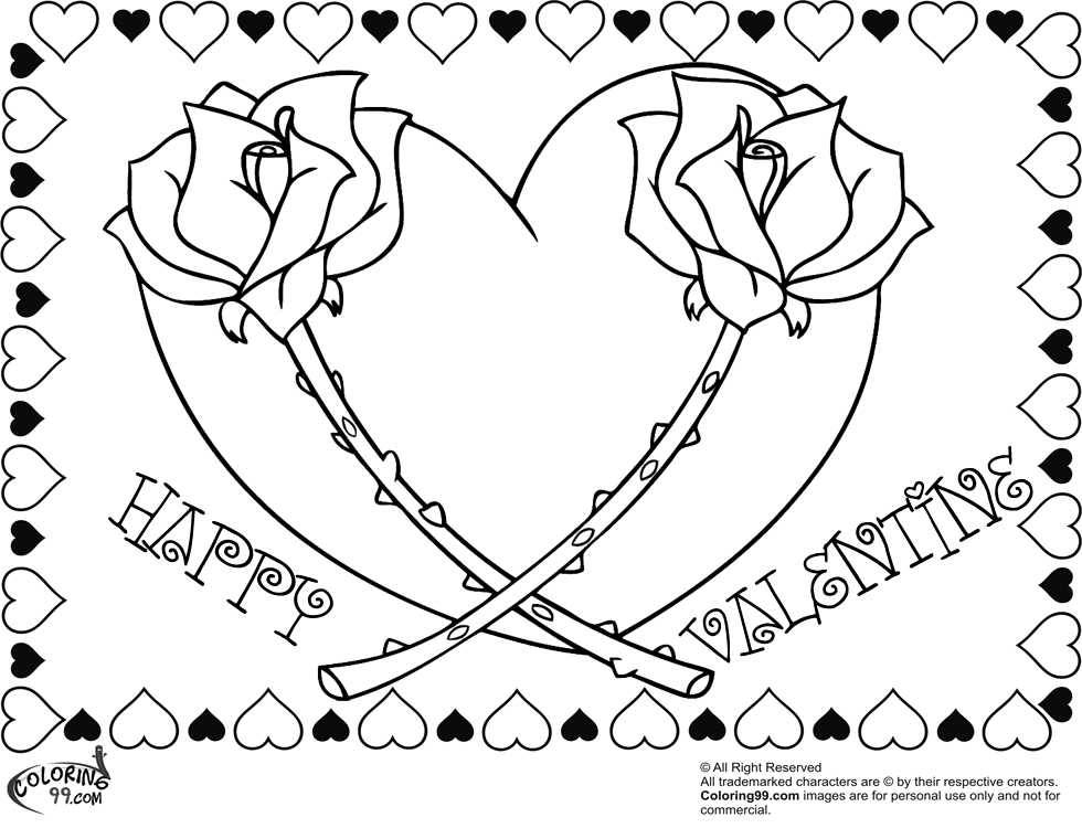 980x750 Valentine Rose Coloring Pages