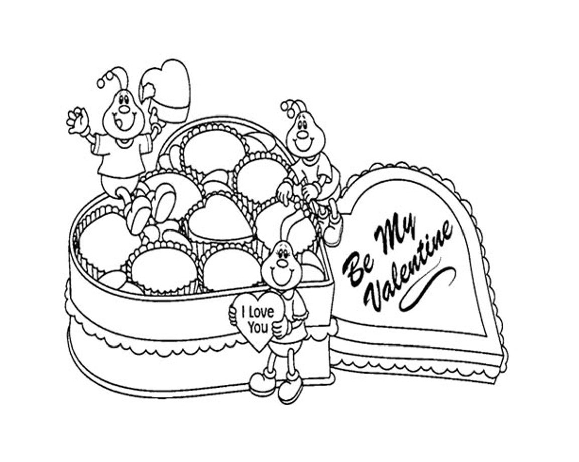 1153x920 Valentines Day Online Coloring Pages Chocolate For Valentines Day