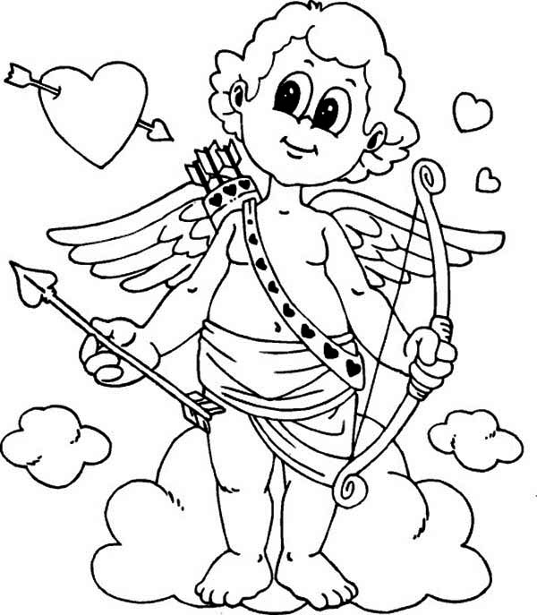 600x687 Cute Little Cupid Is Prepared For Valentine's Day Coloring Page