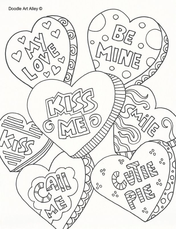 618x800 Valentine's Day Doodle Art Free Printable Coloring Pages