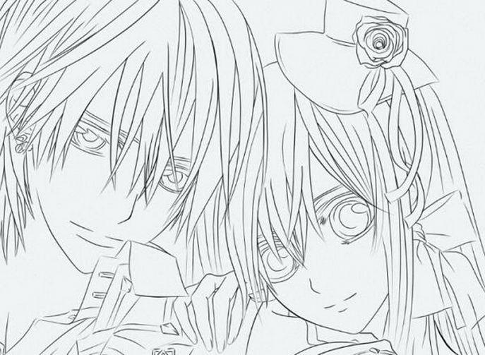 687x503 Extraordinary Vampire Knight Coloring Pages Medium Size Of Manga