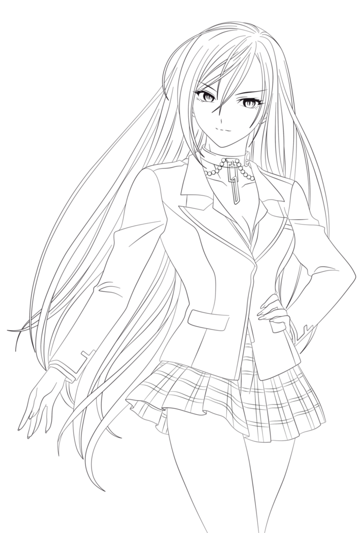 738x1082 Rosario Vampire Anime Coloring Pages