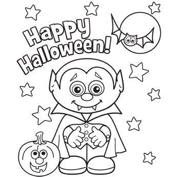 345x345 Halloween Little Vampire Coloring Page Main On Halloween Coloring