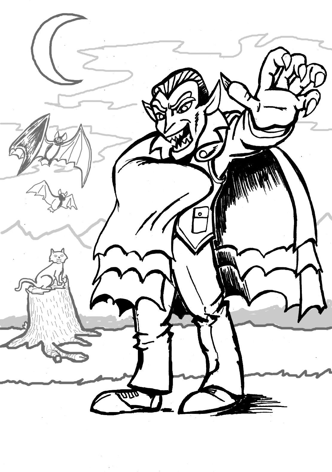 1110x1575 Unbelievable Printable Vampire Coloring Pages For Kids Halloween