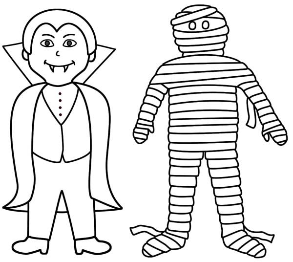 600x536 Vampire And Mummy Are Best Friend Coloring Page