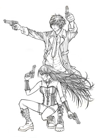 345x480 Awesome Rosario Vampire Coloring Pages Colouring In Tiny Tsukune