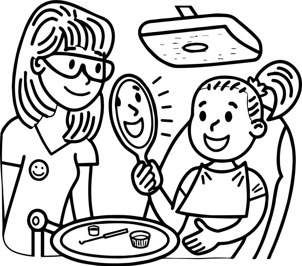 970x853 Dental Doctor And Girl Perfect Teeth Coloring Page Books Image