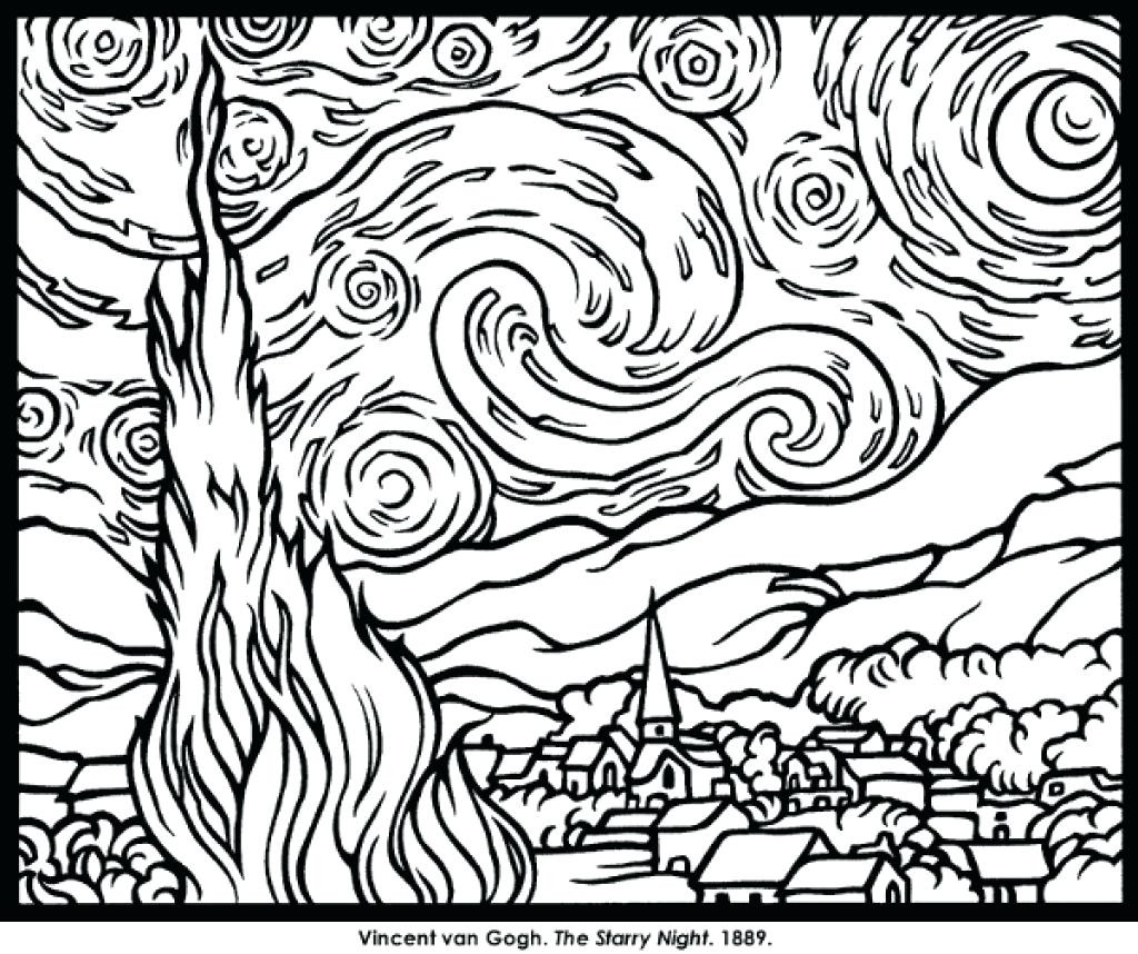 1024x858 Terrific Van Gogh Starry Night Coloring Page Free Printable Pages