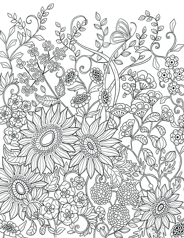 600x776 Sunflowers Coloring Pages Adult Coloring Pages Flowers Packed
