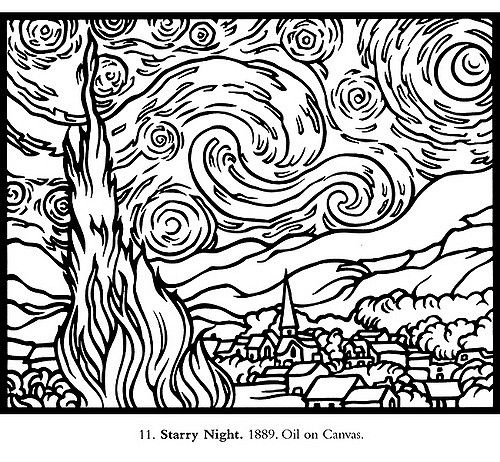 500x462 Van Gogh Stained Glass Coloring Book Photo Sharing
