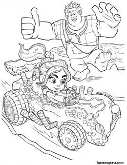 260x338 Printable Wreck It Ralph Cheering For Vanellope Coloring Page