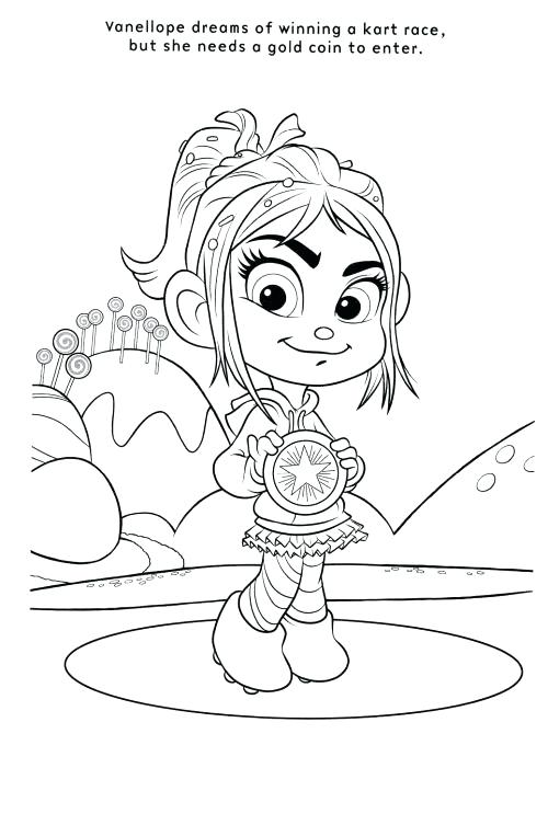 500x743 Vanellope Von Schweetz Coloring Pages Wreck It Coloring Pages