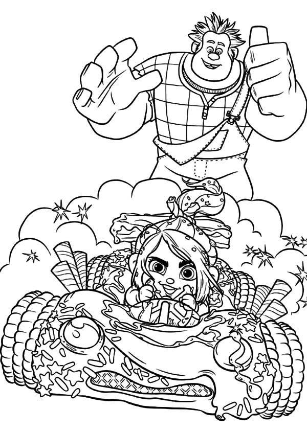 600x845 Wreck It Ralph Encourage Vanellope To Race Bravely Coloring Pages