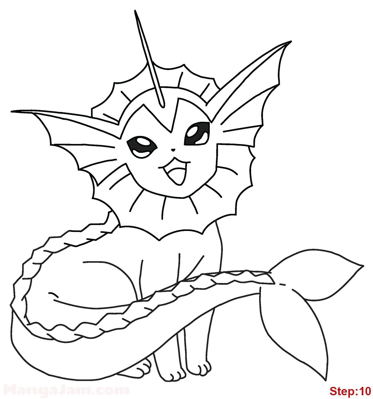 1199x1280 Powerful Vaporeon Coloring Pages Eevee Evolution Printable