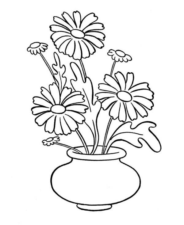 600x734 Daisy Flower In Vase Coloring Page Pobarvaj Flower