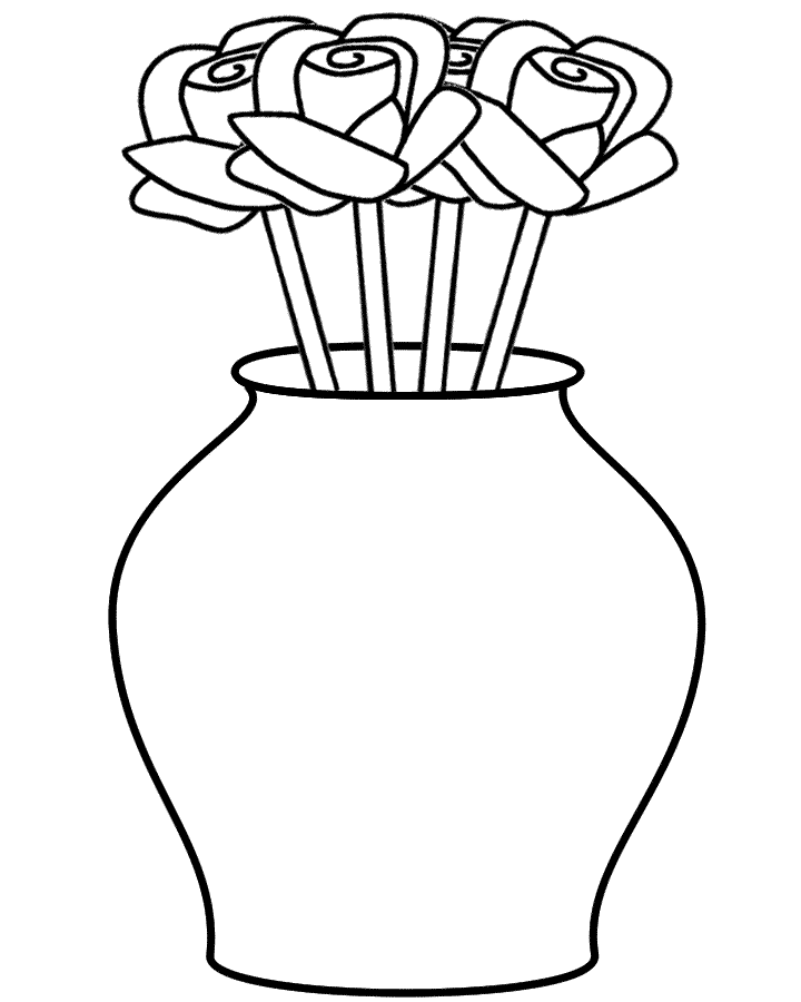 720x900 Flower Vase Coloring Page
