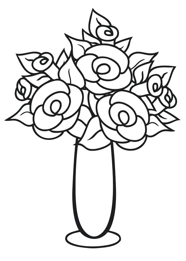 600x840 Flowers Vase Coloring Pages Thin And Tall Flower Page Sky Fuhrer