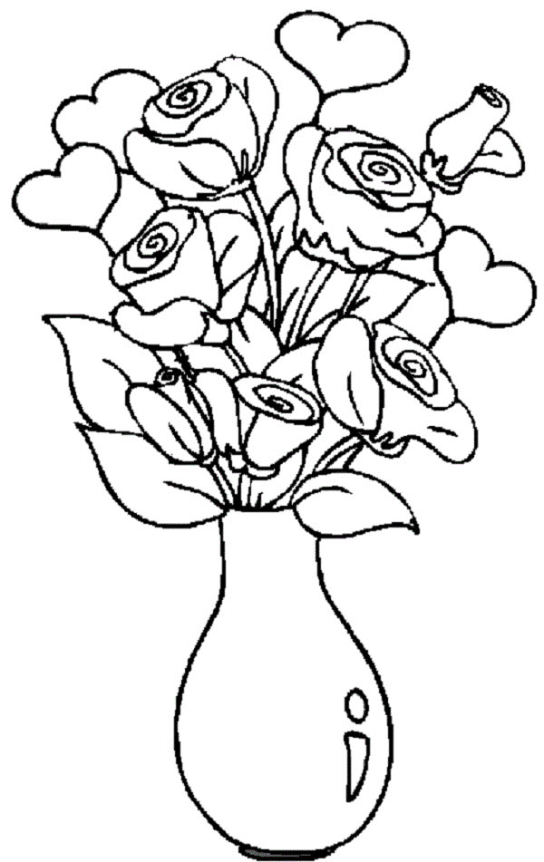 600x951 Hearts And Roses In The Vase Coloring Page Color Luna