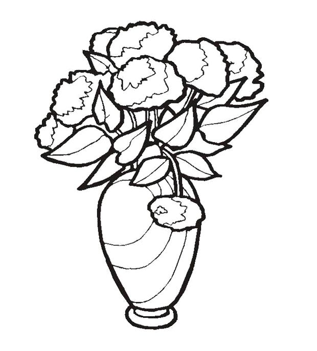 620x686 Beautiful Flower In Vase Coloring Page For Kids Action Man