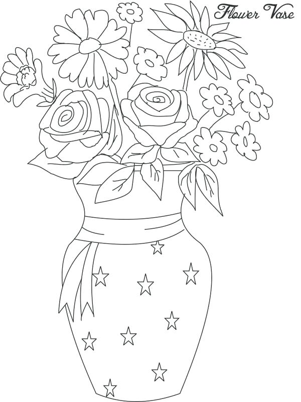 600x801 Coloring Flower Vase Coloring Pages