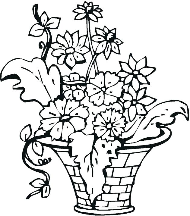 630x717 Flowers In Vase Coloring Pages