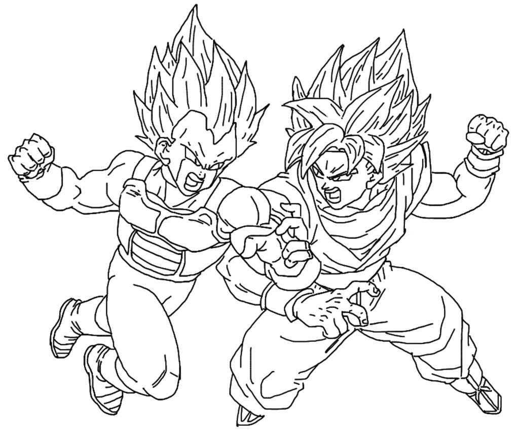 1024x869 Goku And Vegeta Coloring Pages
