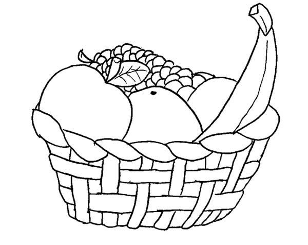 fruit baskets coloring pages | Fruit Basket Coloring Pages at GetDrawings.com | Free for ...