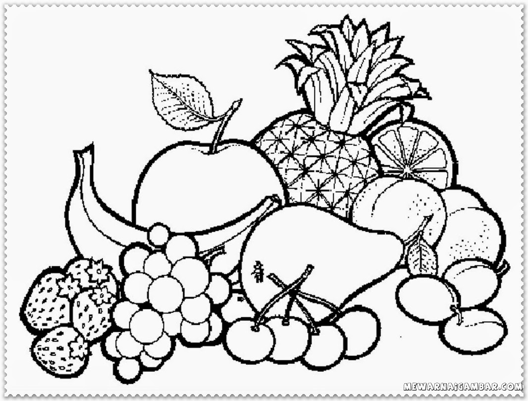 1066x810 incredible fruits coloring pages fruit basket printable free kids