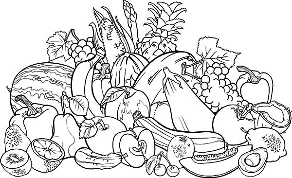 600x366 Fruit And Vegetable Coloring Pages Fruit And Vegetables Coloring