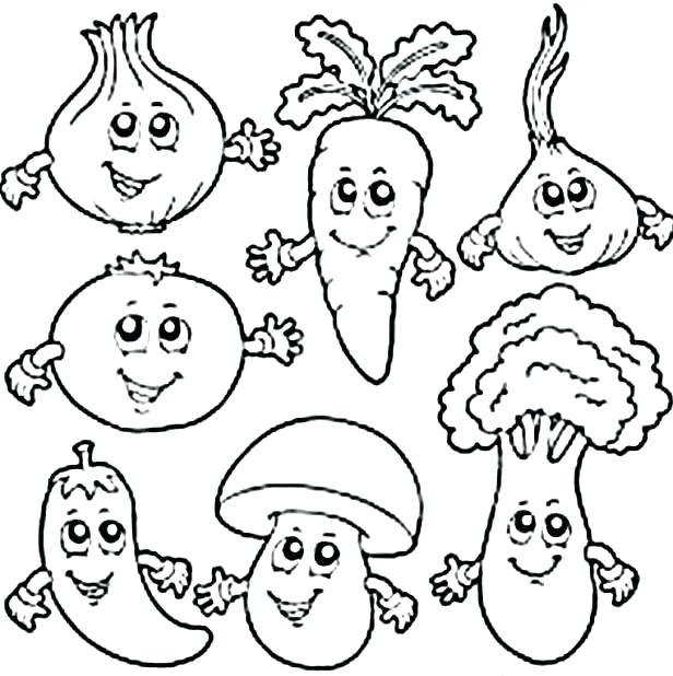 616x618 Fruit And Vegetable Coloring Pages Largest Vegetables Coloring
