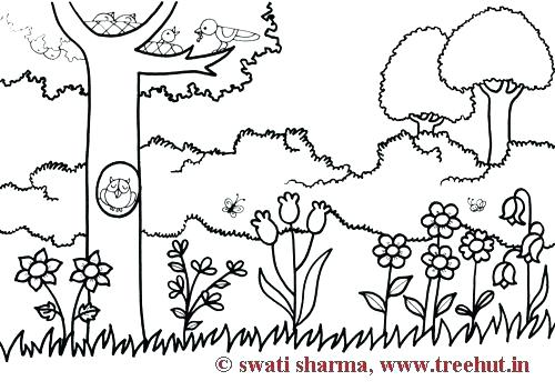 500x352 Coloring Pages Garden Vegetable Garden Coloring Sheets Spring