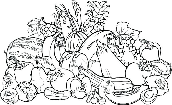 600x366 Vegetable Garden Coloring Pages Vegetable Coloring Page Fruits
