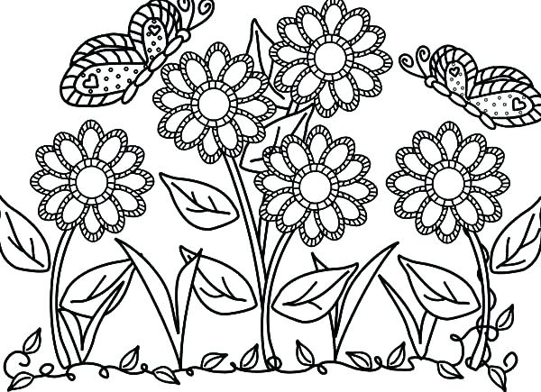 600x435 Garden Coloring Page Butterfly With Flower In The Garden Colouring