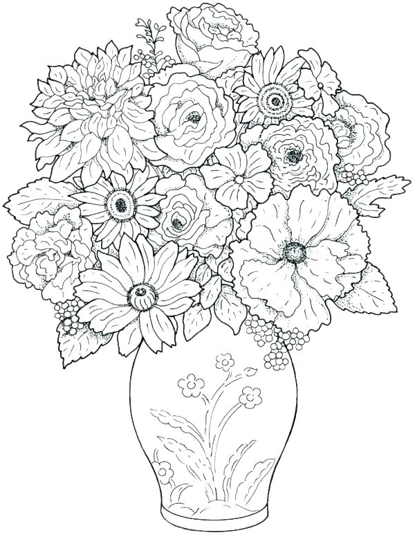 600x773 Very Detailed Coloring Pages Very Hard Coloring Pages Hard Flower