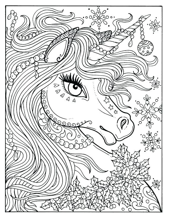 570x738 Detailed Unicorn Coloring Pages