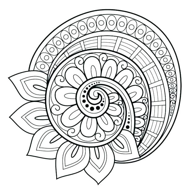 618x632 Hard Coloring Pages Of Flowers Flower Mandala Coloring Pages