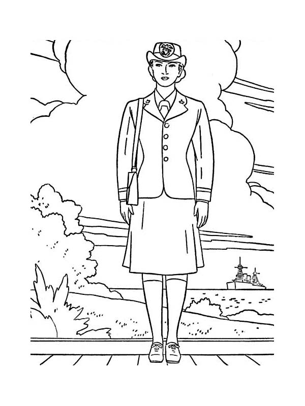 600x800 Female Officer In Navy Uniform Celebrating Veterans Day Coloring
