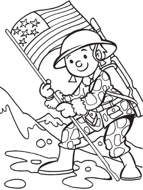 542x718 Simple Veterans Day Coloring Pages For Kids Printable