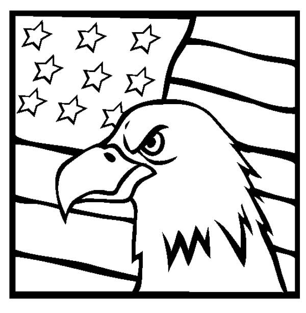 600x613 American Eagle And Us Flag Celebrating Veterans Day Coloring Page