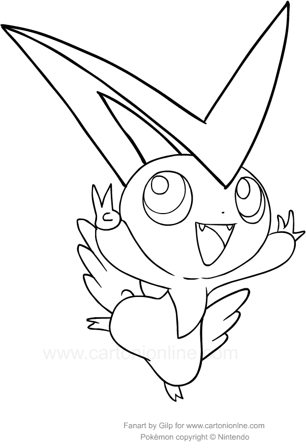 602x881 Drawing Victini Of The Pokemon Coloring Page