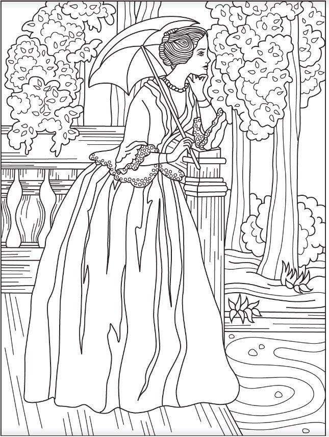 645x857 Victorian Woman Coloring Page Colorish Free Coloring App