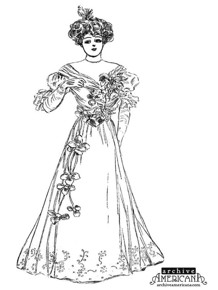 750x1000 Victorian Woman Coloring Pages Free Printable Victorian Woman